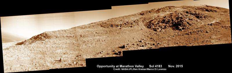 Opportunity rover driving between 'lily pads' in search of Martian sun and science