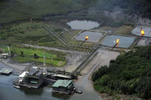 An aerial view of the Shell Cawtharine channels at Awoba in the oil-rich Niger Delta of Nigeria