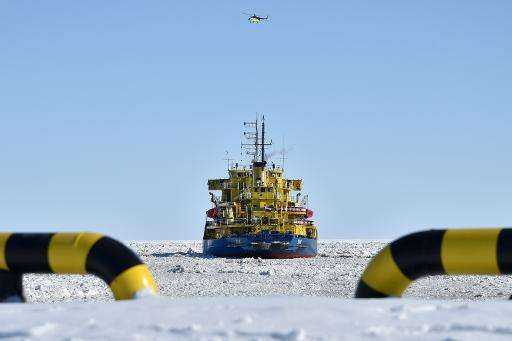 A picture taken on April 16, 2015 shows the icebreaker Tor at the port of Sabetta in the Kara Sea off the Yamal Peninsula in the