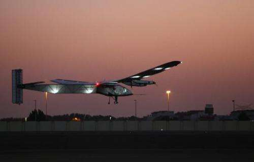 Bertrand Piccard, one of the two Swiss pilots of the solar-powered plane Solar Impulse 2, takes off from the Emirati capital Abu