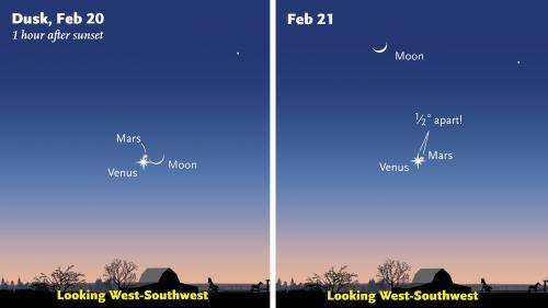 Close Pairing of Venus and Mars on February 20-21