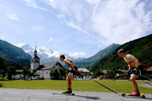 Norwegian athletes roller ski in Passy, France on July 23, 2015, before undergoing medical examinations for a research study