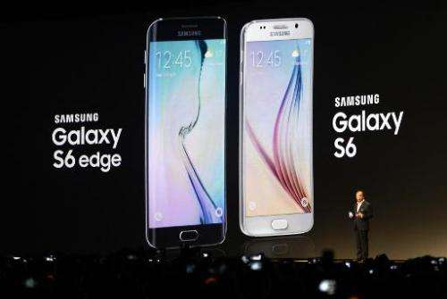 Samsung Electronics President and CEO JK Shin presents the Samsung Galaxy S6 during the 2015 Mobile World Congress in Barcelona,