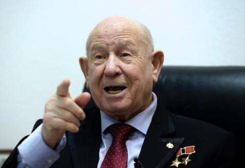 Soviet cosmonaut Alexei Leonov, who was the first man to walk in space on March 18, 1965, gestures during his interview with AFP