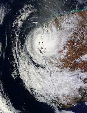 Tropical Cyclone Olwyn landfalls as NASA's Terra satellite flies overhead