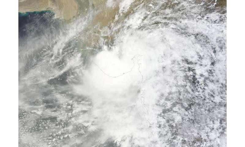 NASA's Aqua Satellite sees Tropical Depression Kujira at landfall