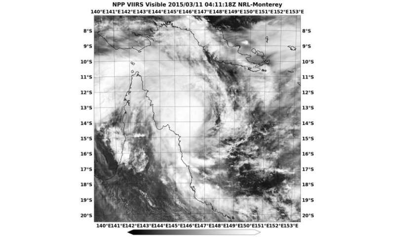 Satellite sees Tropical Cyclone Nathan begin circling near Queensland coast