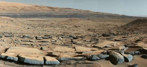 """This NASA image obtained October 9, 2015 shows a view from the """"Kimberley"""" formation on Mars taken by NASA's Curiosity"""