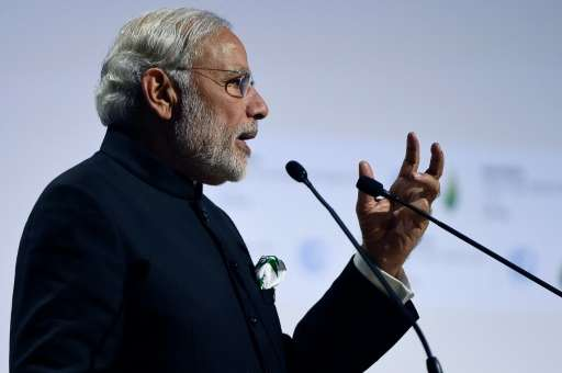 Indian Prime Minister Narendra Modi, pictured on the opening day of the COP21 climate summit in Paris on November 30, 2015, says