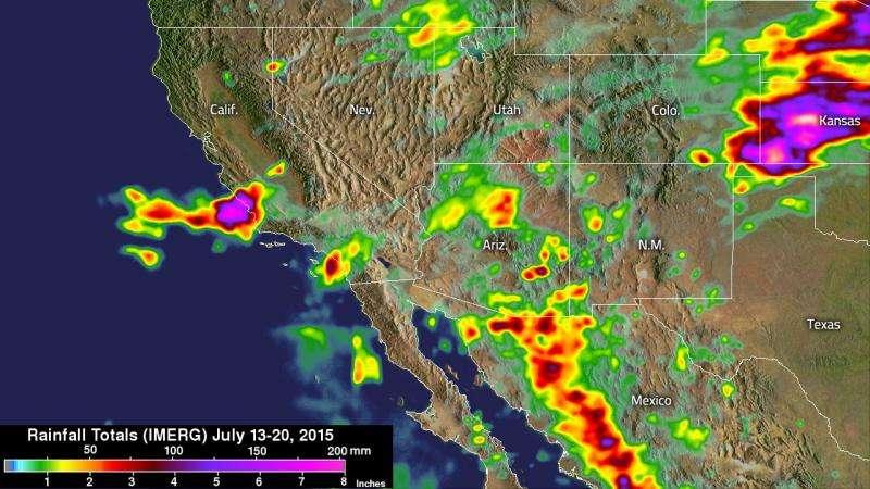 NASA measures southwestern U.S. record rainfall