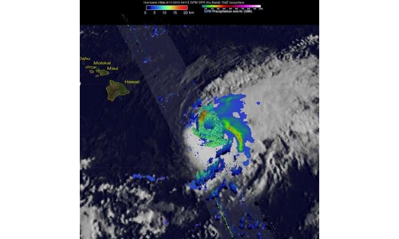 NASA sees heavy rain in Hurricane Hilda, south Of Hawaii