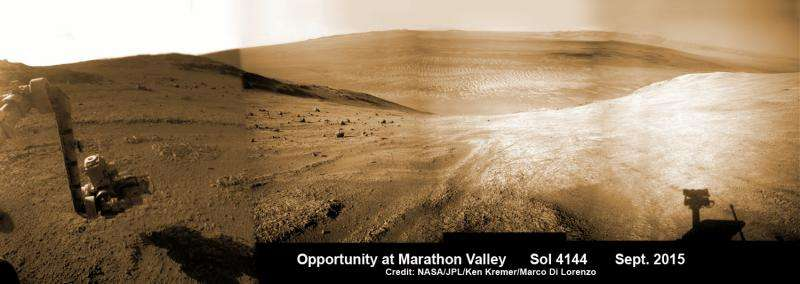 Opportunity rover prospecting for water-altered minerals at crater rim in Marathon Valley