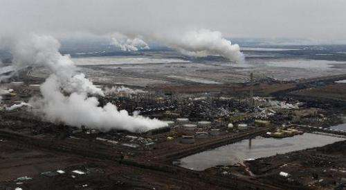 An aerial view of an oil sands extraction facility near the town of Fort McMurray in Alberta Province, Canada, October 23, 2009