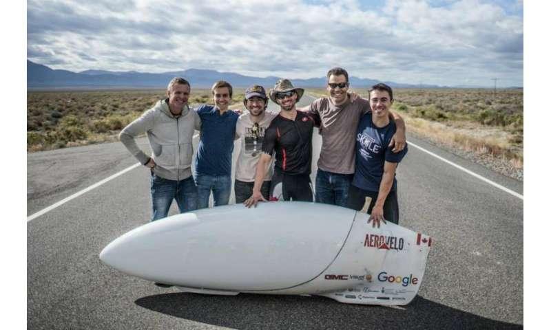 Human-powered speedbike in Nevada challenge breaks record