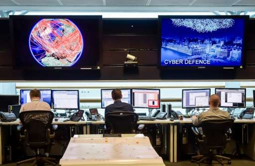 A general view of the 24 hour operations room at Government Communication Headquarters (GCHQ) in Cheltenham on November 17, 2015