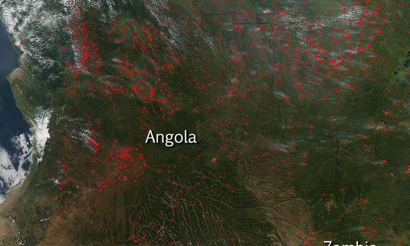 Agricultural fires in Angola, West Africa