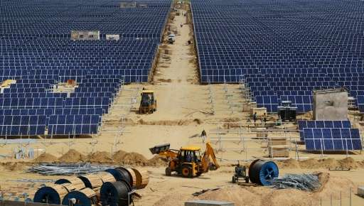 Construction takes place at Roha Dyechem solar plant in Bhadla, some 225 km north of Jodhpur, in the western Indian state of Raj