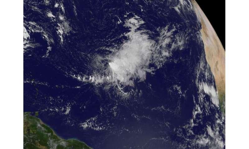 NASA, NOAA satellites show wind shear affecting Tropical Storm Ida