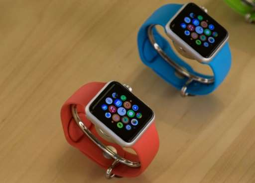 The Apple Watch Sport is displayed in Washington, DC on April 10, 2015