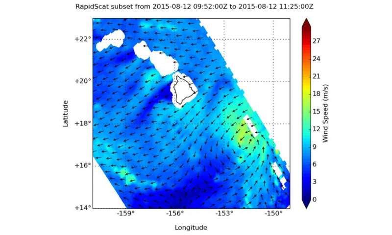 NASA's RapidScat sees diminishing winds in Tropical Storm Hilda