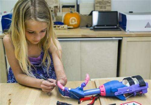 3-D print technology provides 'robohand' to 7-year-old girl