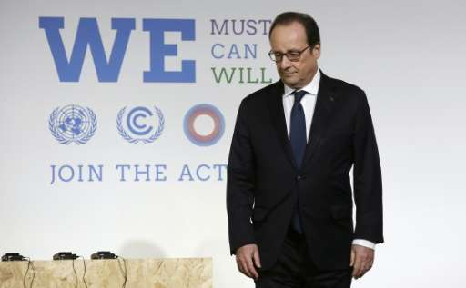 French President Hollande attends the Action Day on December 5, 2015 at the World Climate Change Conference 2015 (COP21) at Le B