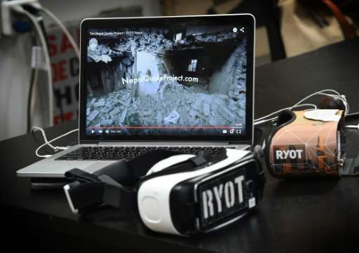 Virtual reality headsets used to view RYOT productions at their offices in Los Angeles, California