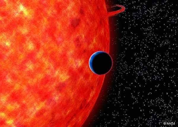 A Blue, Neptune-Size Exoplanet Around a Red Dwarf Star