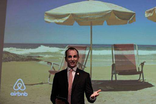 Airbnb co-founder and Chief Product Officer Joe Gebbia speaks to the media in Rio de Janeiro, Brazil, on March 27, 2015