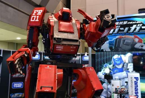 "A large ""Kuratas"" robot  is displayed at the annual Tokyo Toy Show in Tokyo on June 18, 2015"