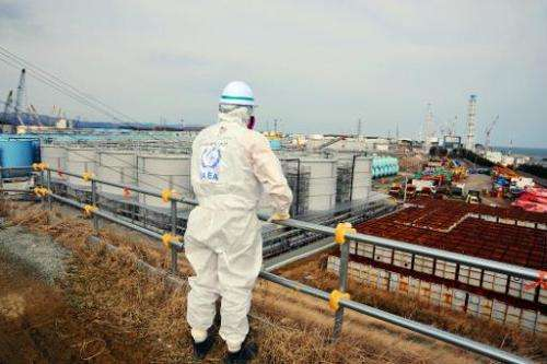 A member of the IAEA mission team inspects TEPCO's Fukushima Daiichi Nuclear Power Station in Okuma, Fukushima prefecture on Feb