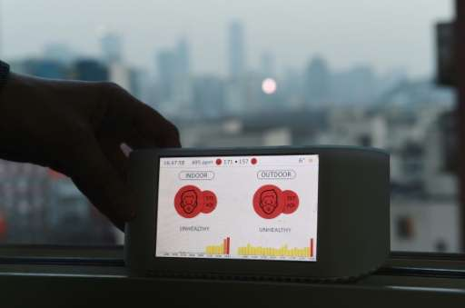 An Airvisual air quality monitor in Beijing, produced by a social enterprise developing technology for a global pollution monito