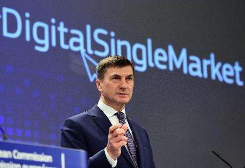 Andrus Ansip, European Commissioner for Digital Single Market, holds a press conference at the European Commission in Brussels,