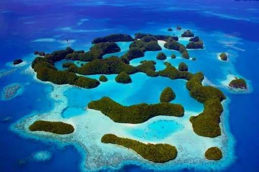 A photo received on October 28, 2015 shows Palau's Rock Islands as the tiny Pacific island nation created a vast marine sanctuar
