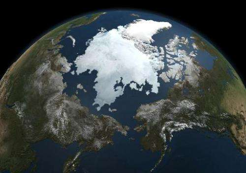 A picture by NASA's Aqua satellite taken on September 3, 2010, shows the Arctic sea ice