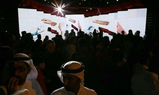 """Apple's """"phablet""""-sized iPhone 6s smartphone generated excitement at launch events like this October 10 2015 party in"""