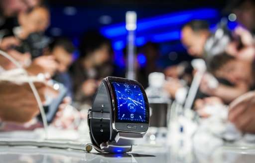 A Samsung Gear S, a mobile watch device is seen during an event in Berlin ahead of the consumer electronics trade fair 'Internat