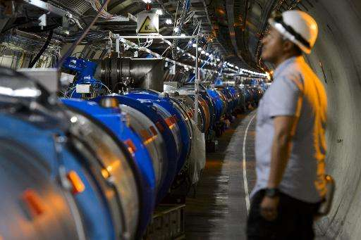 A scientist looks at a section of the European Organisation for Nuclear Research (CERN) Large Hadron Collider (LHC), during main