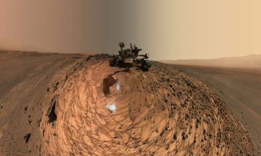 "A self-portrait of NASA's Curiosity Mars rover revealing the vehicle above the ""Buckskin"" rock target, where the missi"