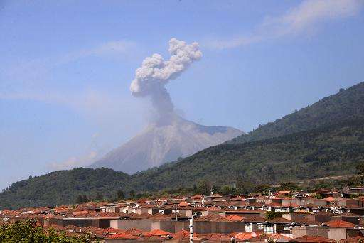Ash billowing from the Fuego volcano is seen from the Palin municipality, Escuintla departament, 40 km south of Guatemala City o