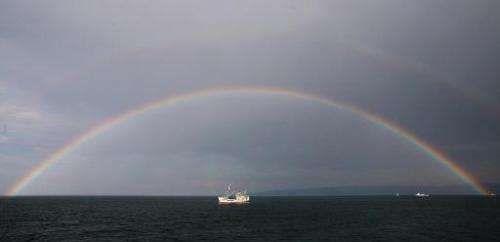 A ship moves in Russia's Lake Baikal on July 29, 2008
