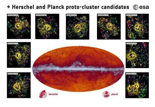 Astronomers discover likely precursors of galaxy clusters we see today