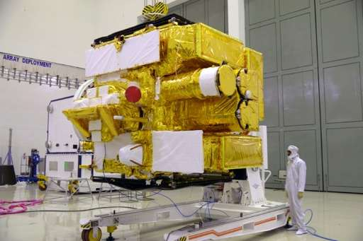 Astrosat, India's first dedicated space observatory, pictured at the Indian Space Research Organisation (ISRO) Satellite Centre