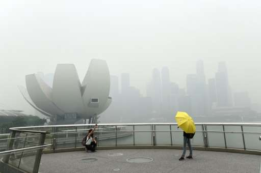"""A tourist (left) takes a """"selfie"""" on a bridge overlooking the Singapore skyline choked with smog on September 29, 2015"""