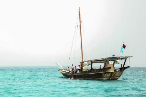 A traditional dhow is pictured at sea off the southeastern coast of Qatar, on April 25, 2015