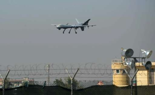 A US drone aircraft lands at Afghanistan's Jalalabad Airport on October 2, 2015