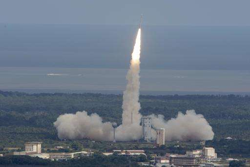 A Vega rocket is seen lifting off from the European Space Agency's base in Kourou, French Guiana, in February 2015