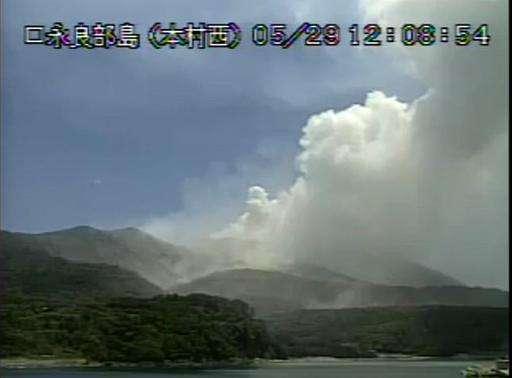 A video grab from the Japan Meteorological Agency shows the eruption of Mount Shindake on Kuchinoerabu island in Kagoshima Prefe