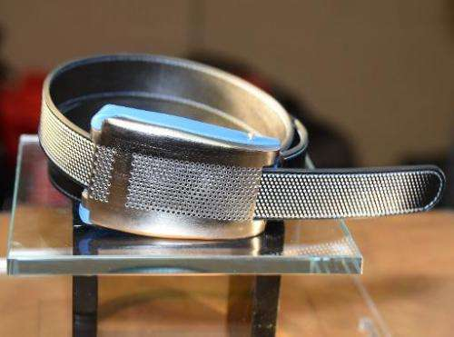 Belty, a smart belt from Paris-based Emiota, is displayed at CES Unveiled, the opening event for the media preview days at the 2