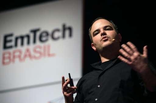 "Brazilian researcher Marcelo Coelho speaks during his presentation at ""EmTech Brasil"" in Rio de Janerio, on November 1"